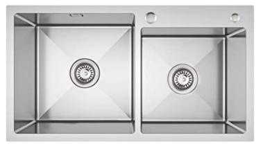 Lonheo Fregadero cocina dos senos de 80 x 45 cm