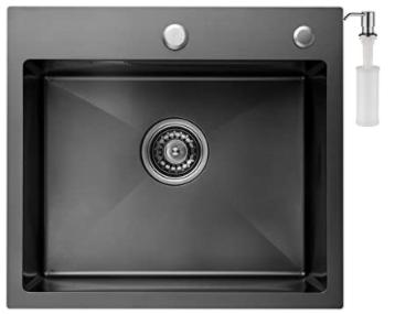 Pileta de cocina CECIPA sobre encimera de un Seno,50cm x 45 cm, Incluyendo Dispensador de Jabón